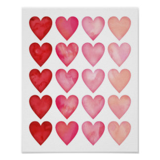 Watercolour ombre hearts poster print