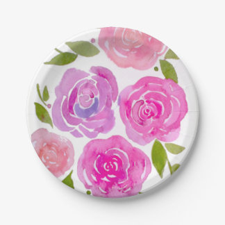 Watercolour painted roses paper plates