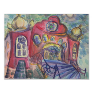 Watercolour Painting Ottawa Old Synagogue Jewish Poster