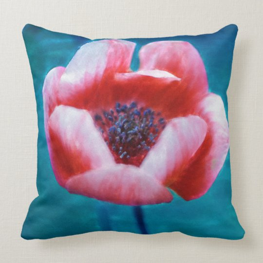 Watercolour painting poppy cushion