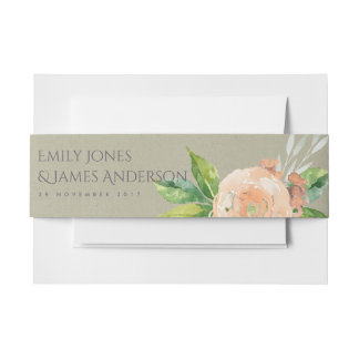 WATERCOLOUR PEACH FLOWER FOLIAGE SAVE THE DATE INVITATION BELLY BAND