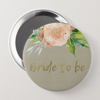 WATERCOLOUR PEACH FLOWER GREEN FOLIAGE BRIDE TO BE 4 INCH ROUND BUTTON