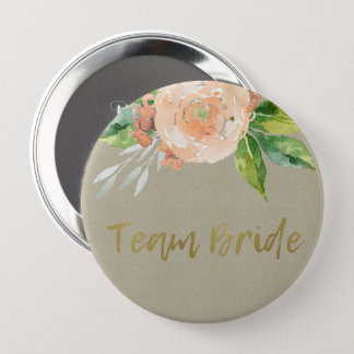 WATERCOLOUR PEACH FLOWER GREEN FOLIAGE TEAM BRIDE 4 INCH ROUND BUTTON
