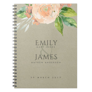 WATERCOLOUR PEACH FLOWER GREEN FOLIAGE WEDDING NOTEBOOKS