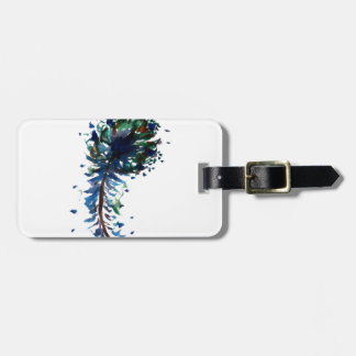 Watercolour peacock feather design luggage tag