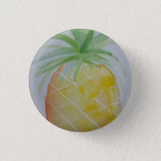 Watercolour Pineapple Badge 1 Inch Round Button