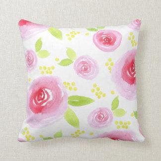 watercolour pink florals pillow