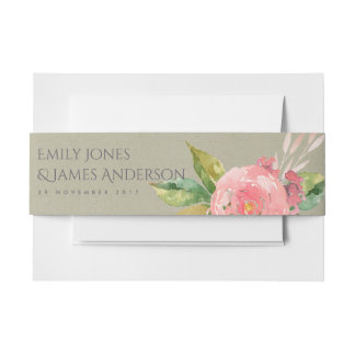 WATERCOLOUR PINK FLOWER FOLIAGE SAVE THE DATE INVITATION BELLY BAND