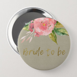 WATERCOLOUR PINK FLOWER GREEN FOLIAGE BRIDE TO BE 4 INCH ROUND BUTTON