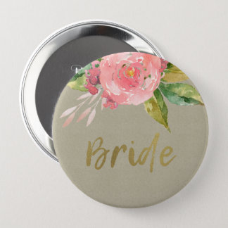 WATERCOLOUR PINK FLOWER GREEN FOLIAGE GOLD BRIDE 4 INCH ROUND BUTTON
