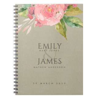 WATERCOLOUR PINK FLOWER GREEN FOLIAGE WEDDING SPIRAL NOTEBOOK