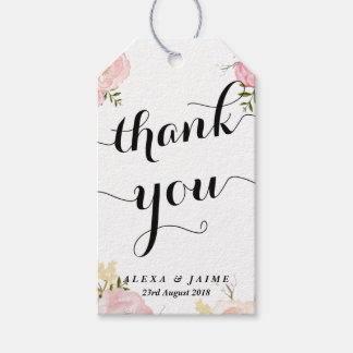 Watercolour Pink Peonies Pattern Floral Thank You Pack Of Gift Tags