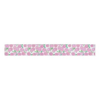 Watercolour , pink roses grosgrain ribbon