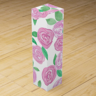 Watercolour , pink roses wine gift box