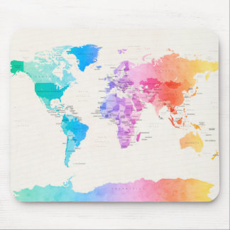 Watercolour Political Map of the World Mouse Pad