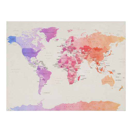 Watercolour Political Map of the World Print