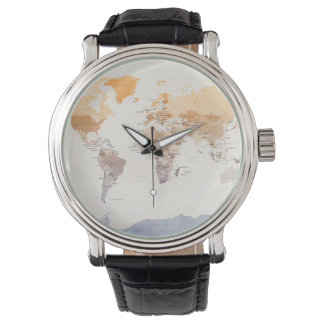 Watercolour Political Map of the World Wristwatches