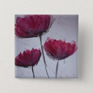 Watercolour Poppy Badge 2 Inch Square Button