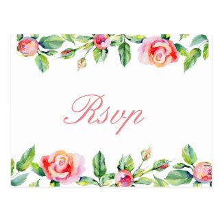 watercolour ROSES Boho Floral Boho RSVP Postcard