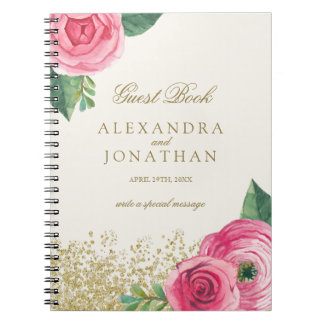 Watercolour Roses Wedding Guest Book