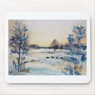 Watercolour Snowy Field Mouse Pad
