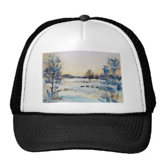 Watercolour Snowy Field Trucker Hat