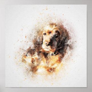 Watercolour Spaniel Dog Poster Print