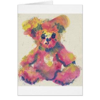 watercolour teddy bear card
