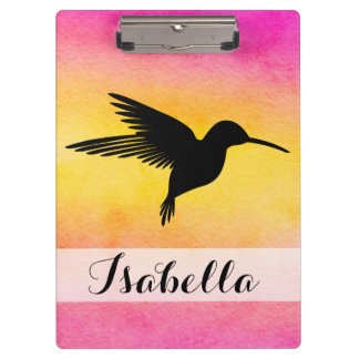 Watercolour Textured Hummingbird Colibri Clipboard