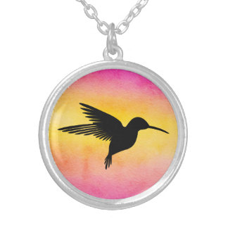 Watercolour Textured Hummingbird Colibri Necklace
