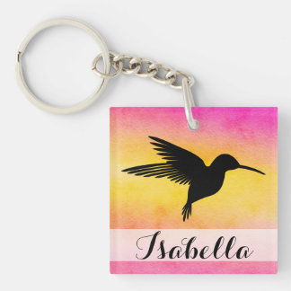 Watercolour Textured Hummingbird Square Keychain