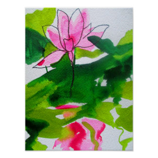 Watercolour waterlily abstract original fine art poster