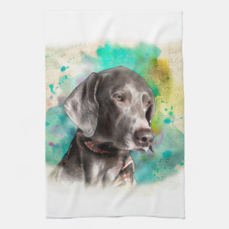 WATERCOLOUR WEIMARANER KITCHEN TOWEL