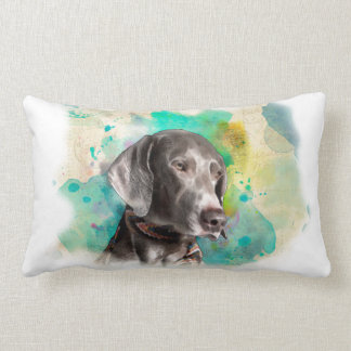 "WATERCOLOUR WEIMARANER LUMBAR PILLOW 13""X21"""