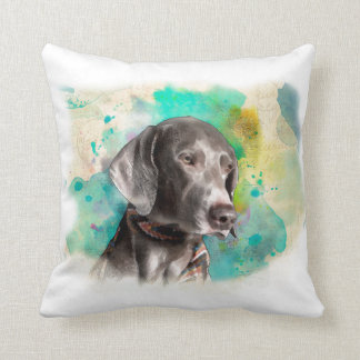 "WATERCOLOUR WEIMARANER PILLOW 16""X16"""
