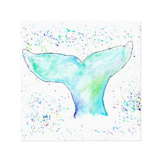 Watercolour Whale Tail Canvas
