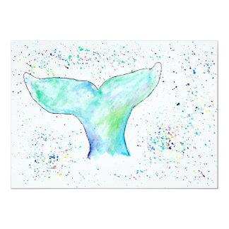 Watercolour Whale Tail Invitation