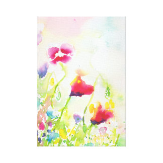 watercolour wildflowers canvas