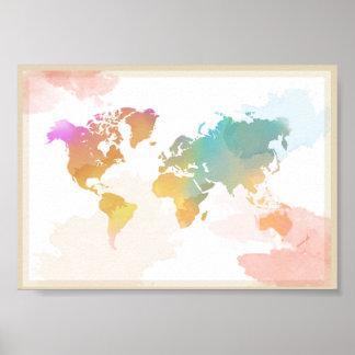 Watercolour World Map Poster