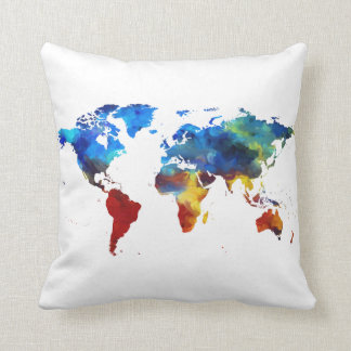 Watercolour World Map Throw Cushion