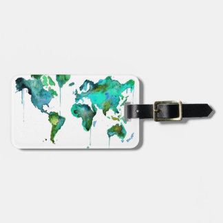 Watercolour world of the map luggage tag