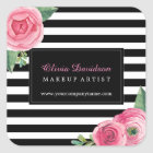 Watercoour Pink Roses and Black Stripes Stickers