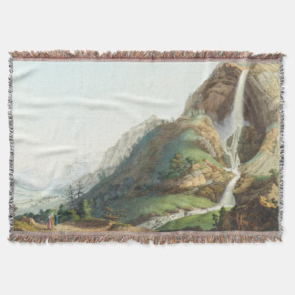 Waterfall Alps Mountains Wilderness Throw Blanket
