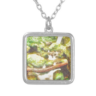 Waterfall and greenery silver plated necklace