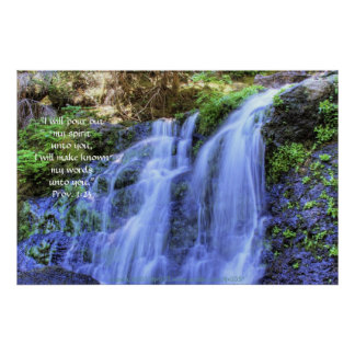 Waterfall and Moss HDR Print w Scripture Verse