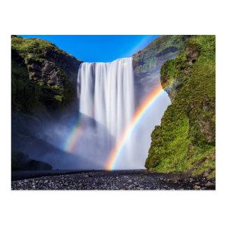 Waterfall and rainbow postcard
