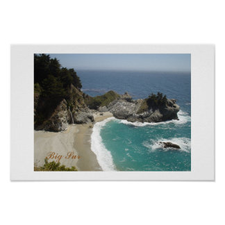 Waterfall at Big Sur Poster