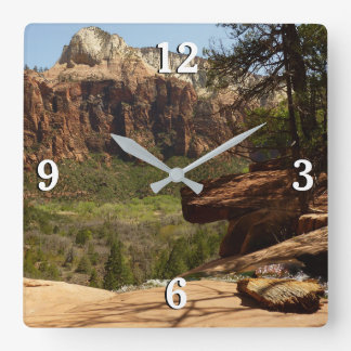 Waterfall at Emerald Pools in Zion National Park Square Wall Clock