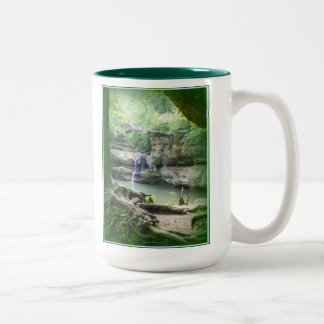 Waterfall at Old Man's Cave Two-Tone Coffee Mug