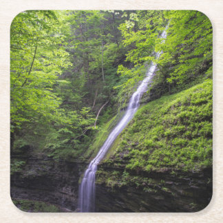 Waterfall at Watkins Glen, NY Square Paper Coaster